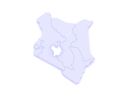 Map of Central. Kenya. 3d photo