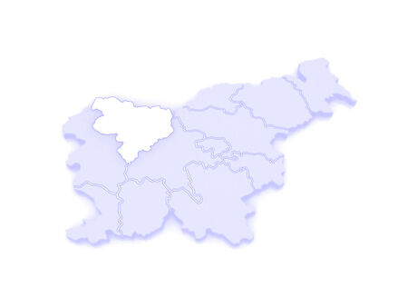 slovenia: Map of Gorenjska region. Slovenia. 3d