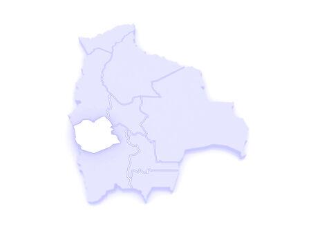 mapa de bolivia: Mapa de Oruro. Bolivia. 3d