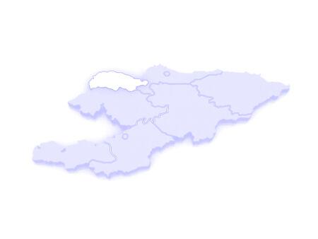 kyrgyzstan: Mapa de Talas. Kirguist�n. 3d Foto de archivo