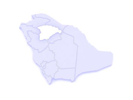 saudi: Map of Hail. Saudi Arabia. 3d