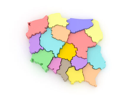 poland: Three-dimensional map of Poland. 3d Stock Photo