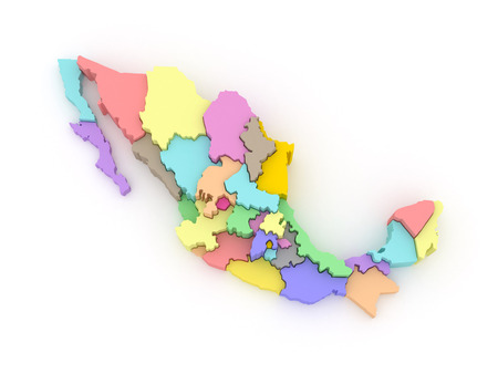 Three-dimensional map of Mexico. 3d 免版税图像