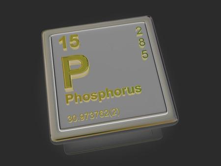 experimentation: Phosphorus. Chemical element. 3d Stock Photo