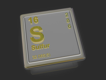 Sulfur. Chemical element. 3d Stock Photo
