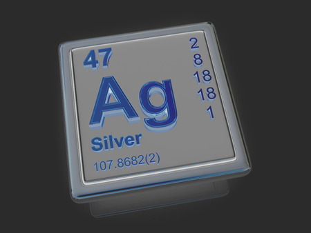 ag: Silver. Chemical element. 3d Stock Photo
