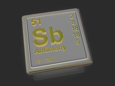 antimony: Antimony. Chemical element. 3d