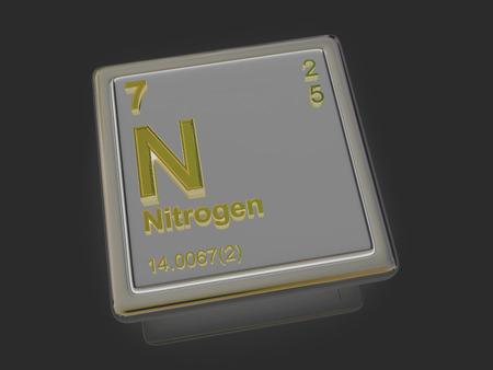 3d nitrogen: Nitrogen. Chemical element. 3d Stock Photo