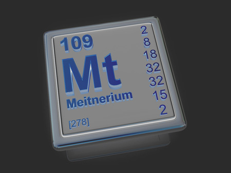 experimentation: Meitnerium. Chemical element. 3d Stock Photo