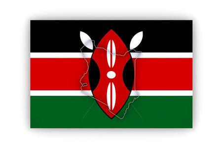 kenya: Map of Kenya. 3d