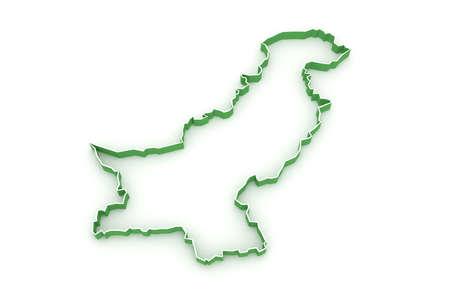 Pakistan: Map of Pakistan. 3d Stock Photo