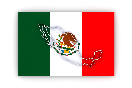 Three-dimensional map of Mexico. 3d Stock Photo