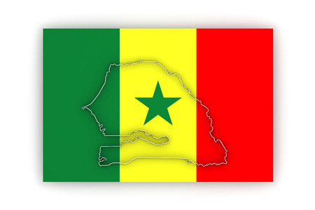 senegal: Map of Senegal. 3d Stock Photo