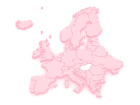 Map of Europe and Hungary. 3d photo