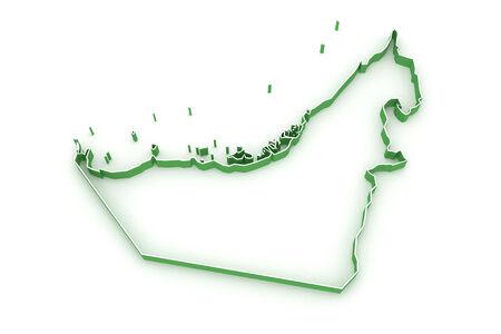 united arab emirates: Map of United Arab Emirates (UAE). 3d