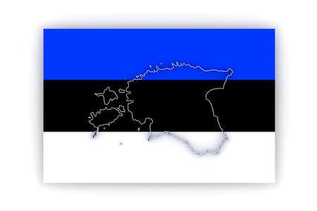 estonia: Map of Estonia. 3d Stock Photo