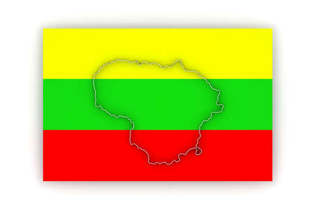lithuania: Map of Lithuania. 3d Stock Photo