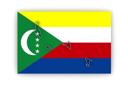 comoros: Map of Comoros. 3d Stock Photo