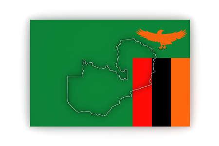 zambia: Map of Zambia. 3d Stock Photo