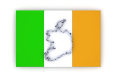 ireland: Map of Ireland. 3d Stock Photo