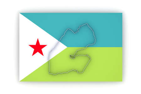 Map of Djibouti. 3d Stock Photo