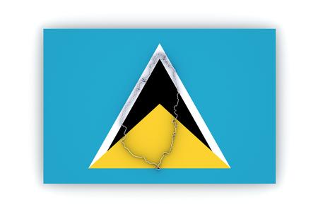 lucia: Map of Saint Lucia. 3d