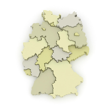 republics: Three-dimensional map of Germany. 3d Stock Photo