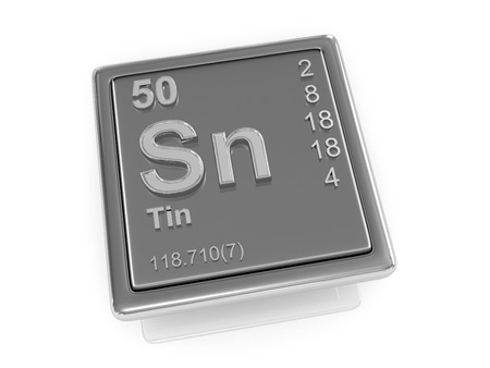 tin: Tin. Chemical element. 3d