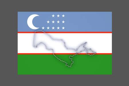 uzbekistan: Map of Uzbekistan. 3d