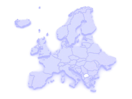 serbia and montenegro: Map of Europe and Macedonia. 3d