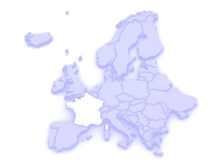 serbia and montenegro: Map of Europe and France. 3d