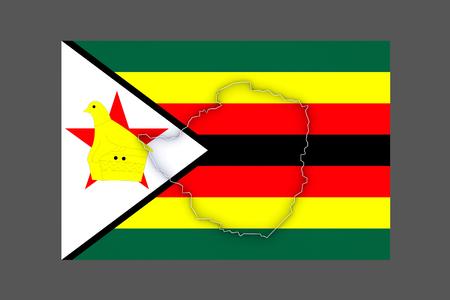 zimbabwe: Mapa de Zimbabwe. 3d