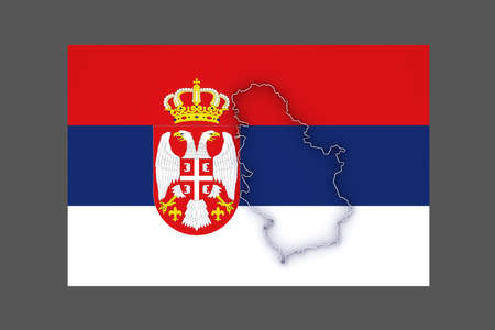 serbia: Map of Serbia. 3d