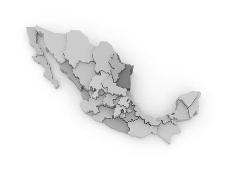 Three-dimensional map of Mexico. 3d Фото со стока