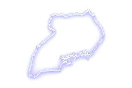 uganda: Map of Uganda. 3d