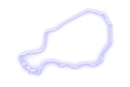 niger: Map of Niger. 3d