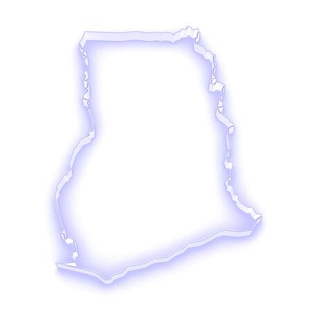 ghana: Map of Ghana. 3d