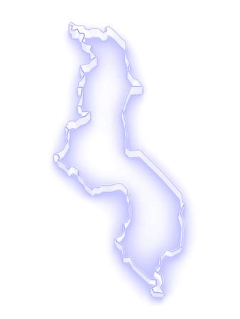 malawi: Map of Malawi. 3d