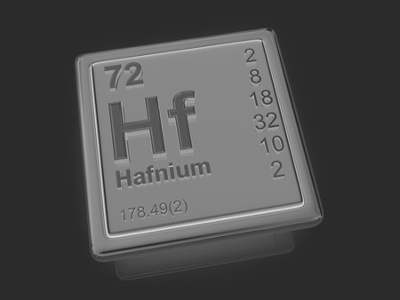 hf: Hafnium. Chemical element. 3d