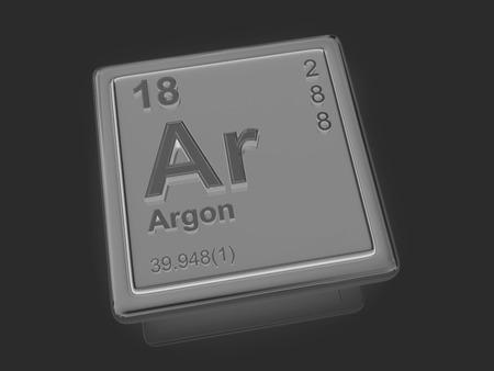 Argon. Chemical element. 3d photo