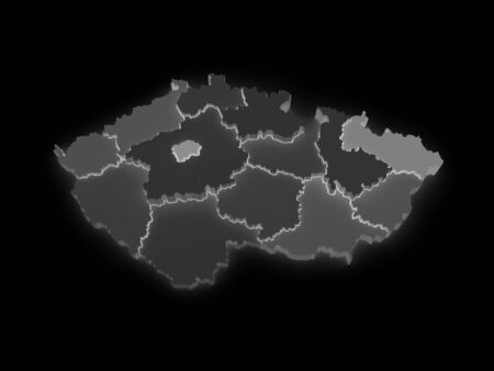 Three-dimensional map of Czech Republic. 3d photo