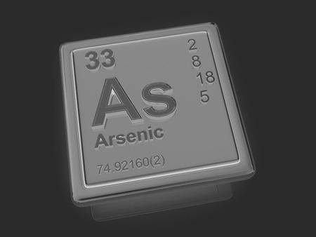 Arsenic. Chemical element. 3d photo