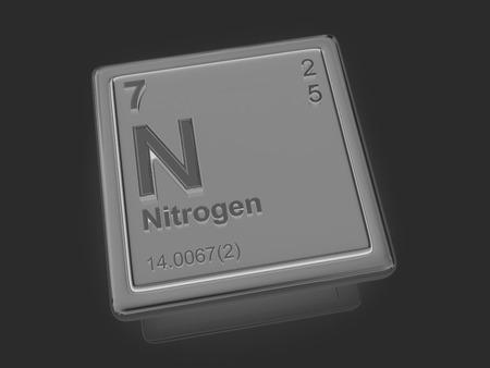 nitrogen: Nitrogen. Chemical element. 3d Stock Photo
