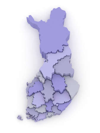 finland: Three-dimensional map of Finland. 3d