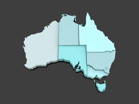 geography map: Three-dimensional map of Australia. 3d Stock Photo