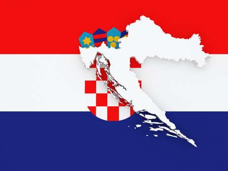 croatia: Map of Croatia. 3d