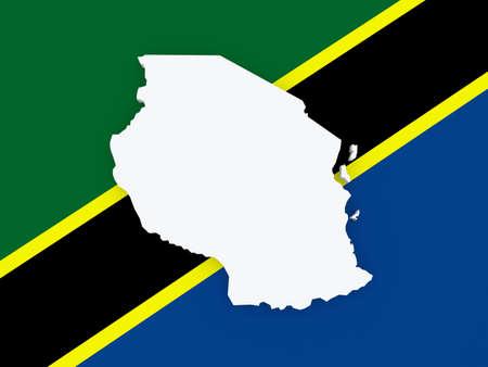 tanzania: Map of Tanzania. 3d Stock Photo