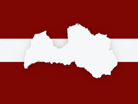 latvia: Map of Latvia. 3d