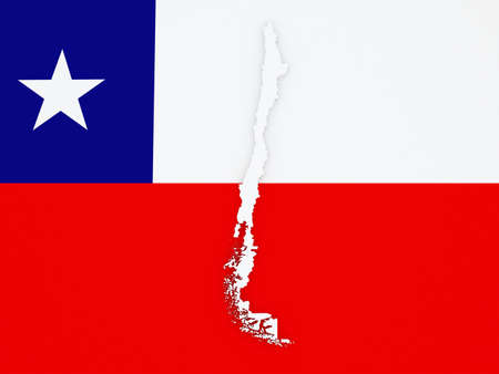 chile: Map of Chile. 3d Stock Photo