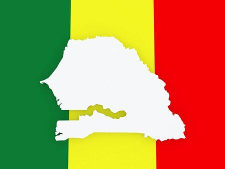 senegal: Map of Senegal. 3d Stock Photo